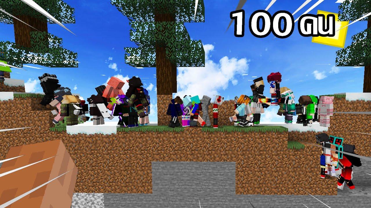 ถ้า!? ให้คน 100 คนมาเล่น มายคราฟ 2D..จะเป็นไง - Minecraft