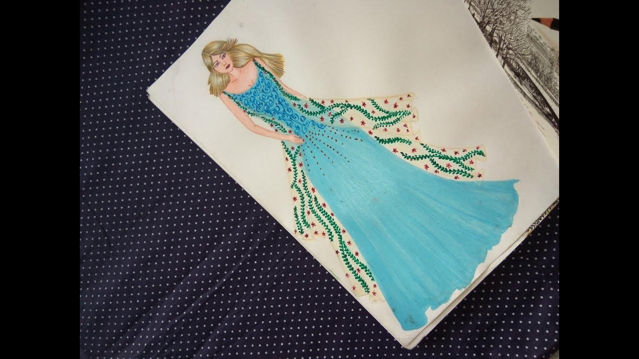 Fashion sketch #7 indo western dress sketch - YouTube