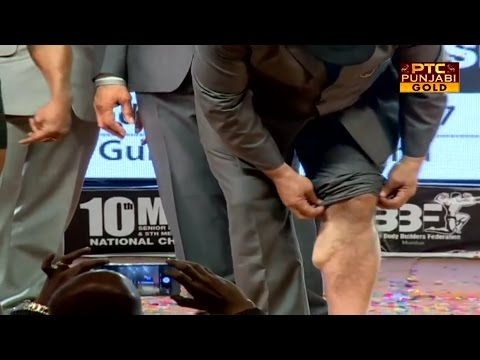 Mr Prem Chand Degra showing his calf at the age of 62 at 10th Mr India benefits of natural gains