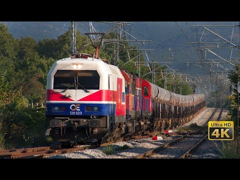 Fast Trains in Greece - 160 km/h - Trains in tunnels - Freight trains - Train OSE Railways -  [4K]