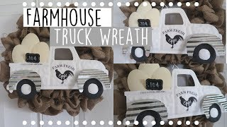 DIY Farmhouse Burlap Truck Wreath | Budget Friendly Farmhouse Home Decor
