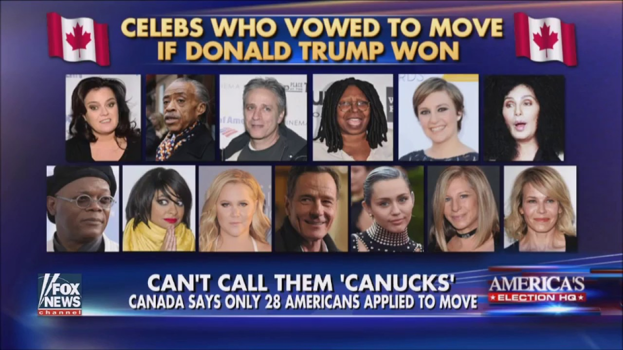 celebrities refuse to move to canada after donald trump s election