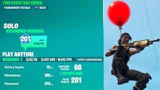 100 Eliminations | 201 Points | Position #93 - Fortnite Solo Gauntlet Tournament