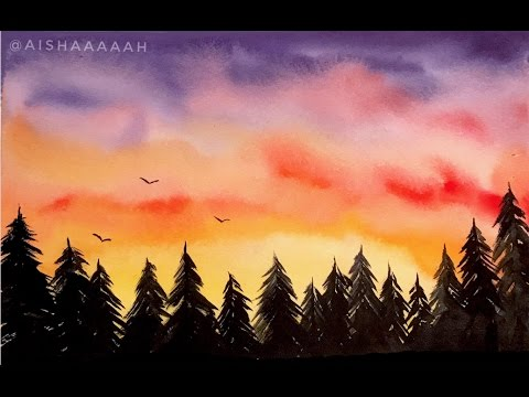 Simple Watercolor Sunset Forest Tutorial