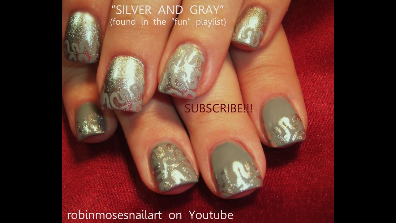 Fifty Shades Of Grey Nails Easy Nail Art Tutorial 50 Shades Of Grey Nails Designs Youtube