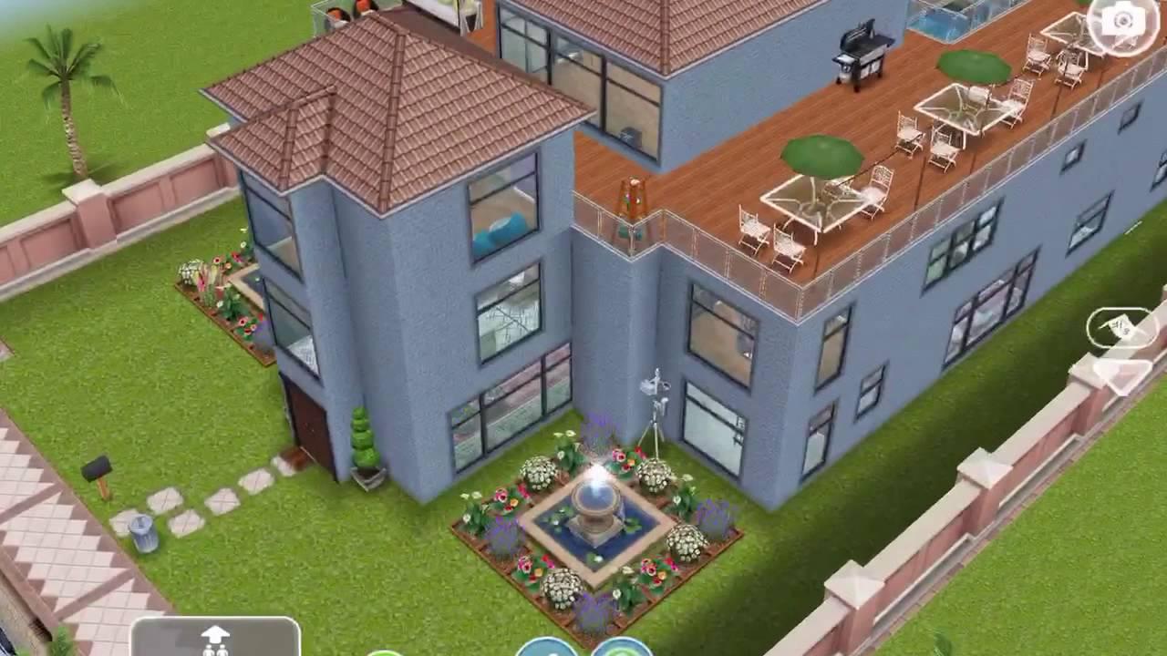 sims freeplay beach mansion (original house design) - youtube