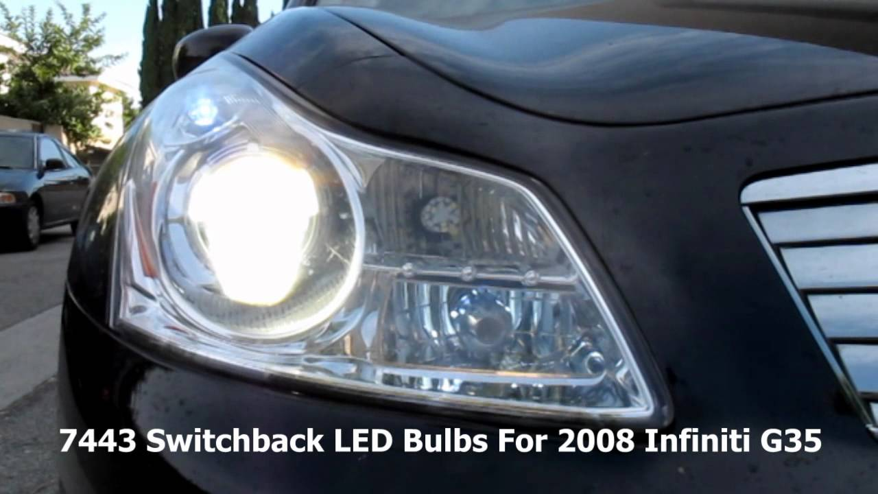 2008 Infiniti G35 With 7443 Switchback Led Bulbs For Front