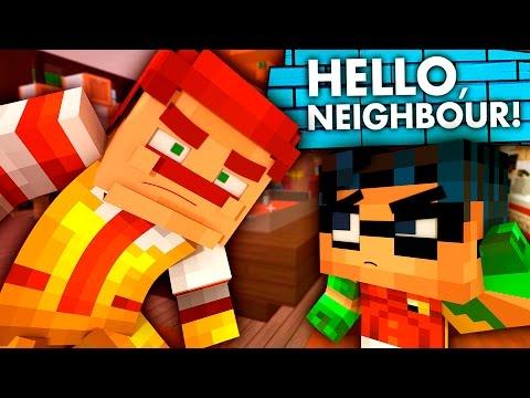 The Neighbor Working at McDonald's?! Hello Neighbor vs Minecraft! (Teen Titans GO Roleplay)