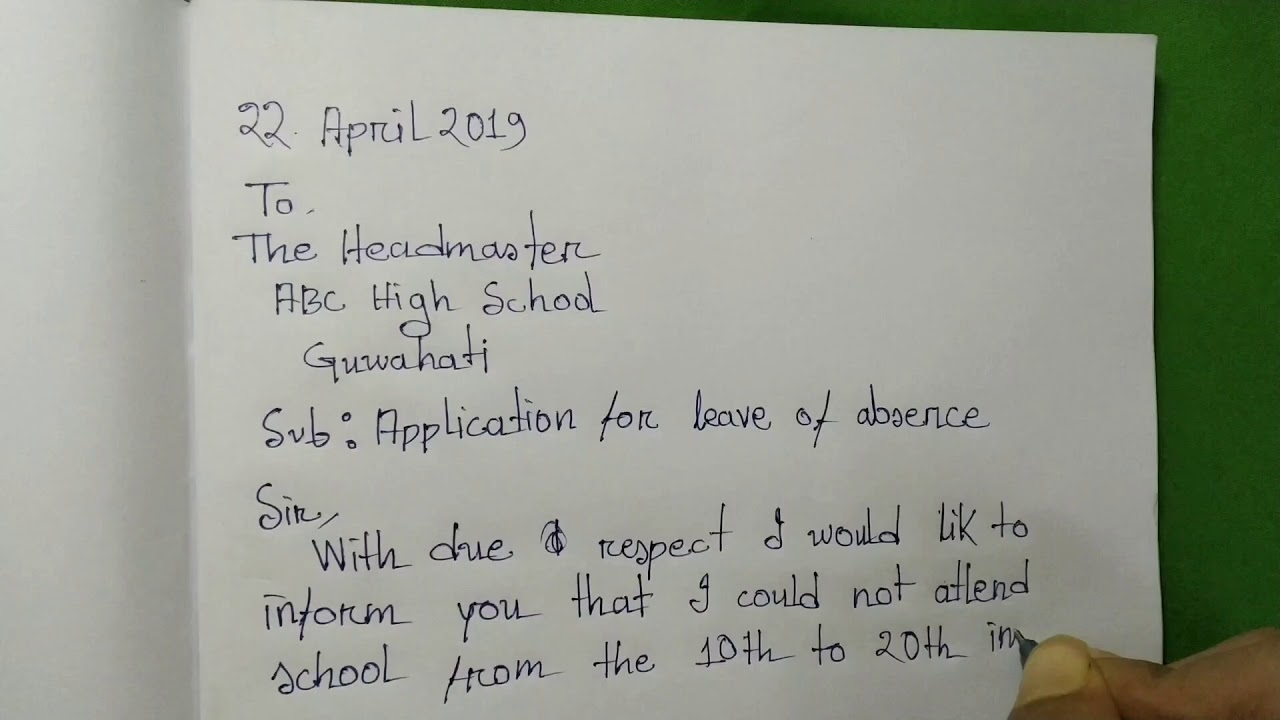 Download Application for leave of absence in school