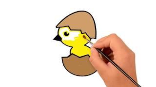 Как рисовать цыплёнок - дошкольное обучение - Pазвлекательныe и образовательные игры для детей