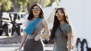 Kim Kardashian and Kylie Jenner Are Twinning in Chic Spandex -- With Heeled Boots!