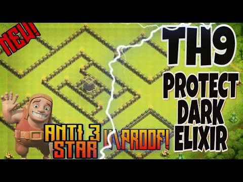 TH9 ANTI DARK ELIXIR BASE anti 3 star protect your dark elxir!!Best th9 base of 2018.