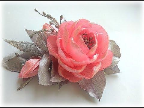 Цветы из атласных лент. Зажим для волос. Канзаши МК/DIY