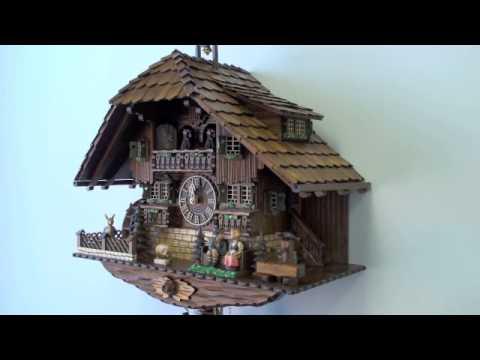 Black Forest Cuckoo Clock 8 Day Carved Chalet Musical, Sliding Kissing Figures, 23