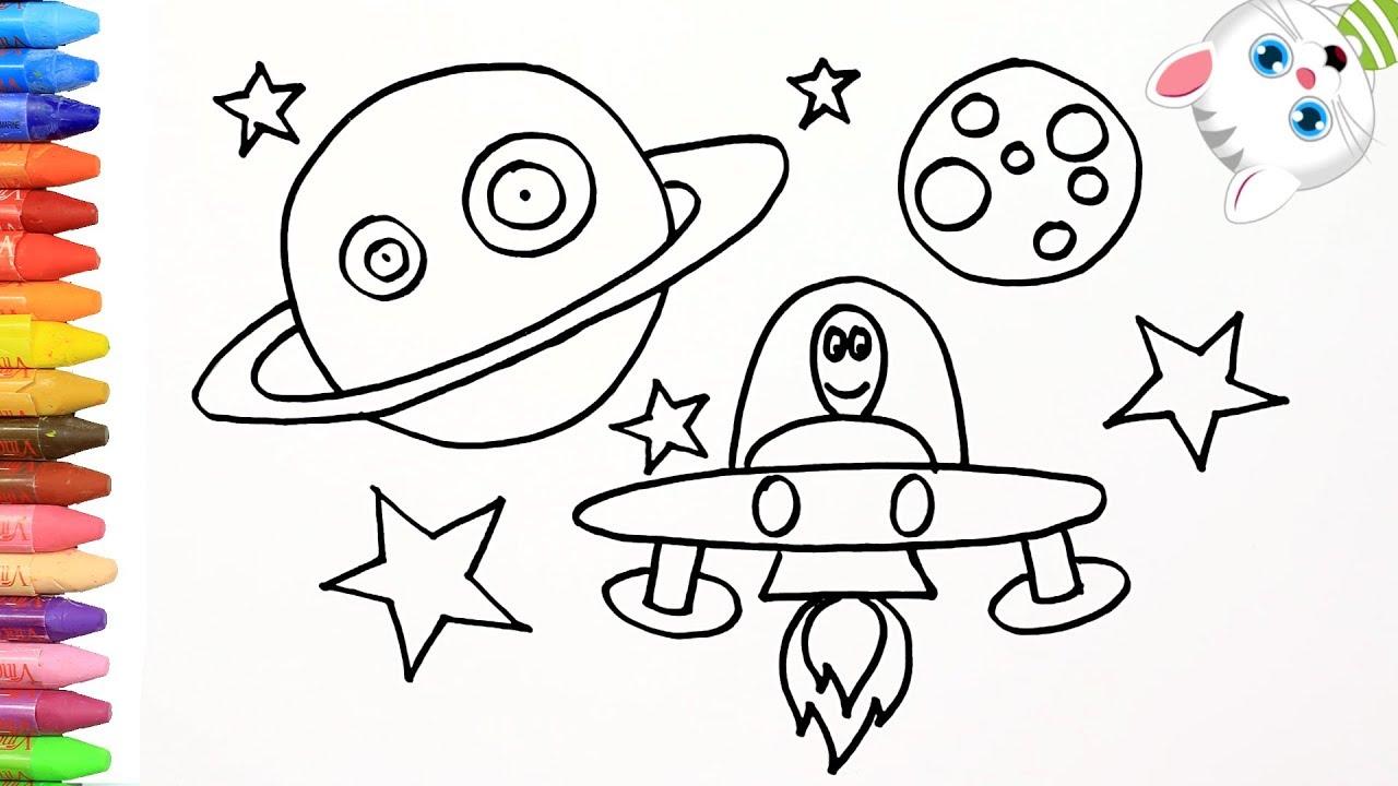 Cómo Dibujar y Colorear espacio 🌌 | Dibujos Para Niños con ...