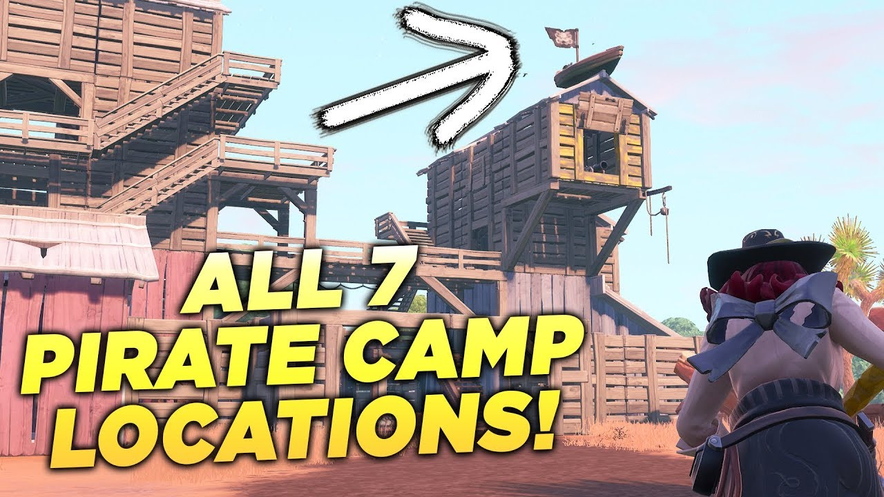 all 7 pirate camp locations visit all pirate camps fortnite week 1 season 8 challenge guide - visit all pirate camps fortnite location