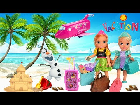 Elsa and Anna Toddlers Pack their Bags Holiday Time Vacation At Beach Snow & Camping Elsia and Annia