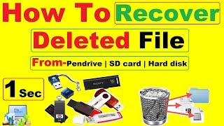 How to recover deleted data from pendrive | SD card | Hard disk