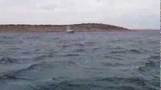 Nordhavn Trawler At Anchor In 40 Knot Winds