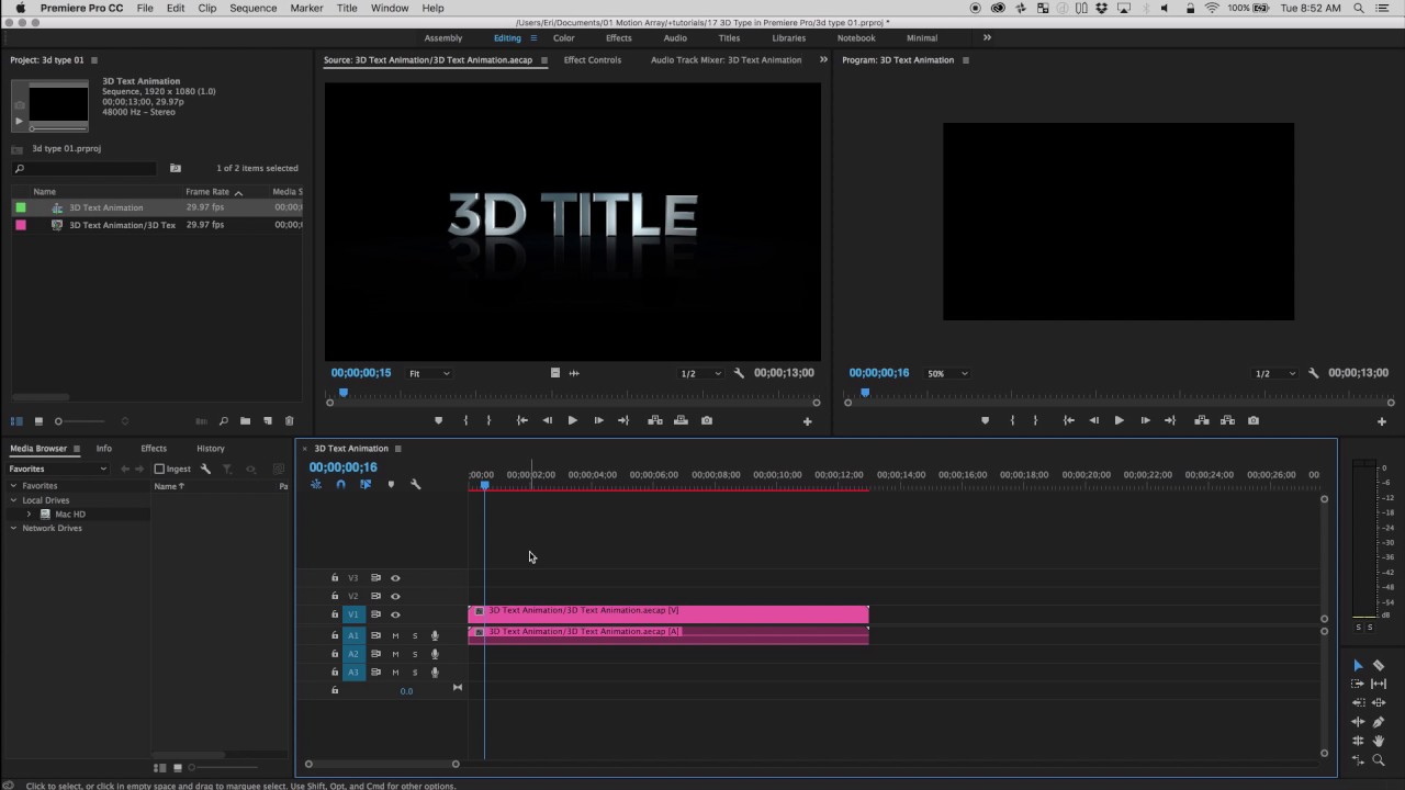 working with 3d type in premiere pro cc youtube