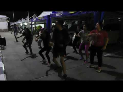 Dance moves laid down in  Denpasar parking lot, Bali, Indonesia