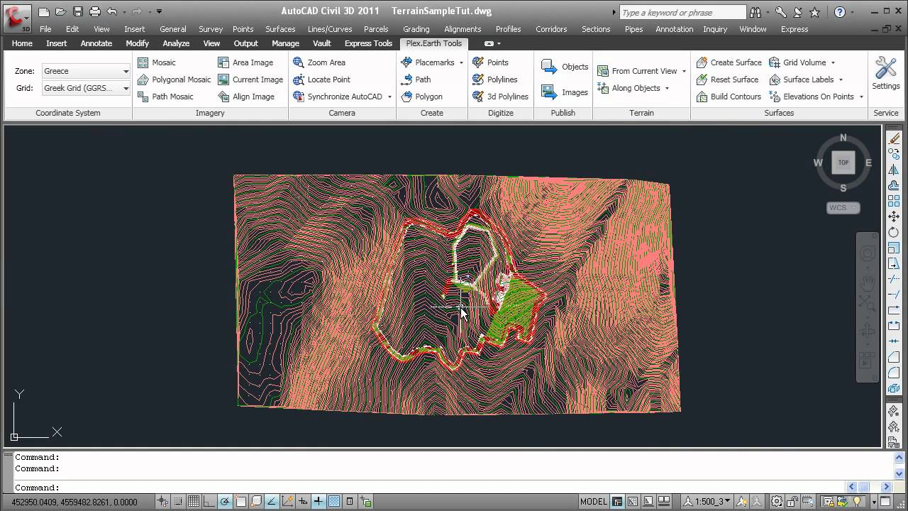 Drawing Lines With Google Earth : Autocad google earth import terrain and create contour