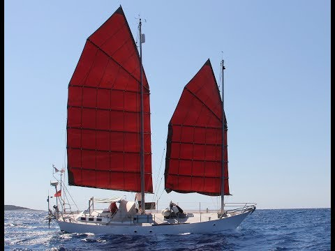 S/V MAYA a  steel Junk rigged schooner , sailing upwind off of  kefalonia Greece