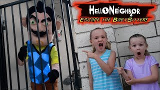 Escape the Babysitter Hello Neighbor in Real Life! We Lock Hello Neighbor Out!