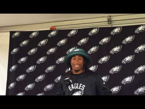 Philadelphia Eagles cornerback Ronald Darby meets the media