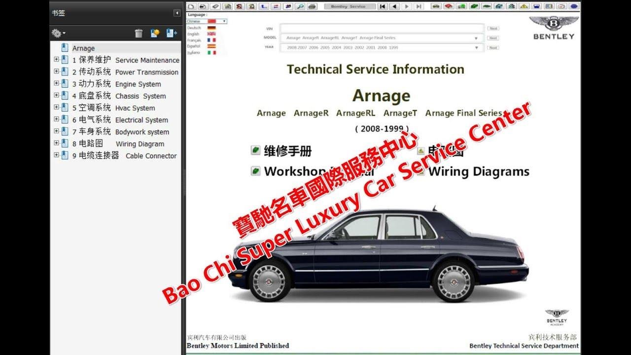 Bentley Arnage Workshop Repair Manual Wiring Diagram Technical Diagrams Owners