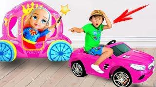 Something goes wrong! Senya and his NEW pink CAR and a DOLL!