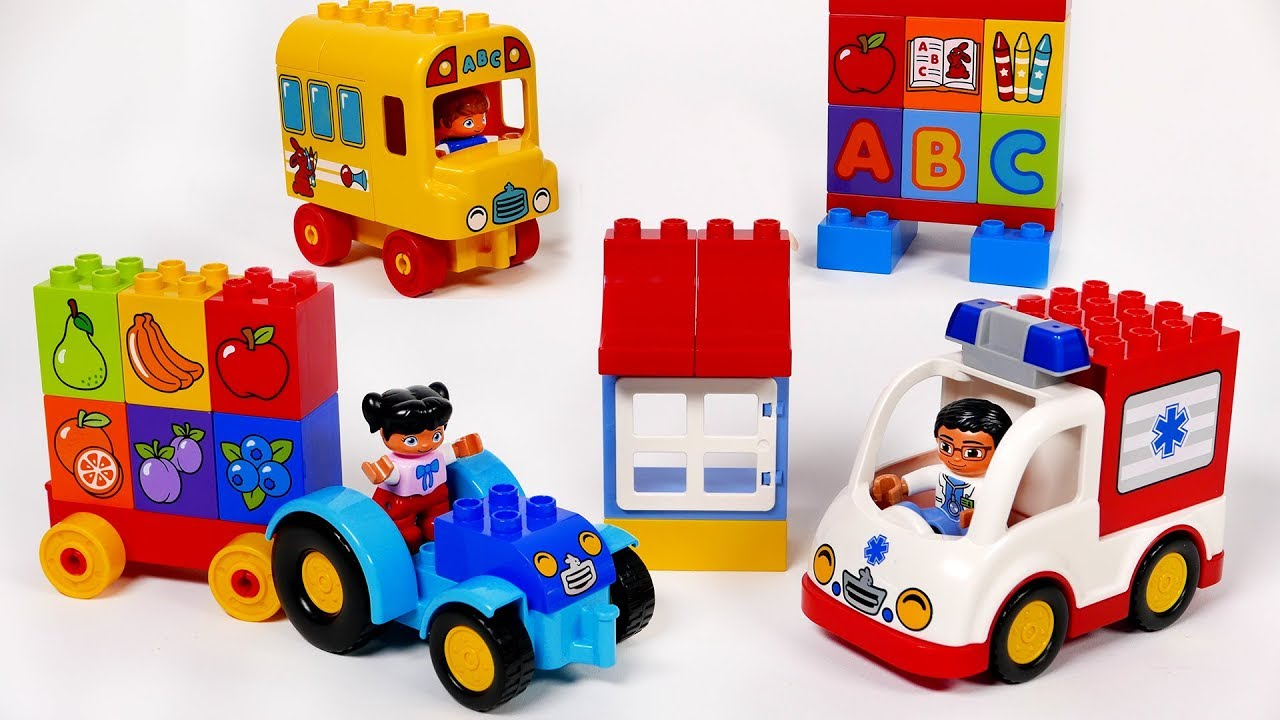 Download Ambulance School Bus and Tractor Building Bock Toy Vehicles Playset for Kids Toddlers and Children