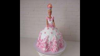торт КУКЛА Сборка и украшение торта КУКЛА Украшение белковым кремом DOLL CAKE BOLO BONECA