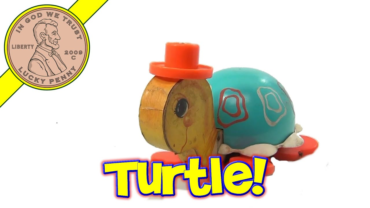 Vintage Fisher Price Tip Toe Turtle Pull String Toy 773 from 1962