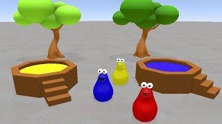 Komik Karikatür ile Renkleri Öğren #Çocuklar için h Su Renkli Sıvı Su Tankı Slayt Renkleri İle Öğrenin