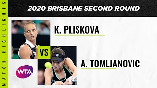 Ajla Tomljanovic vs. Karolina Pliskova | 2020 Brisbane International Second Round | WTA Highlights