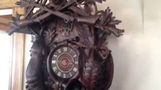 Monster 5 Foot Antique Carved Hunters Cuckoo Clock For Sale