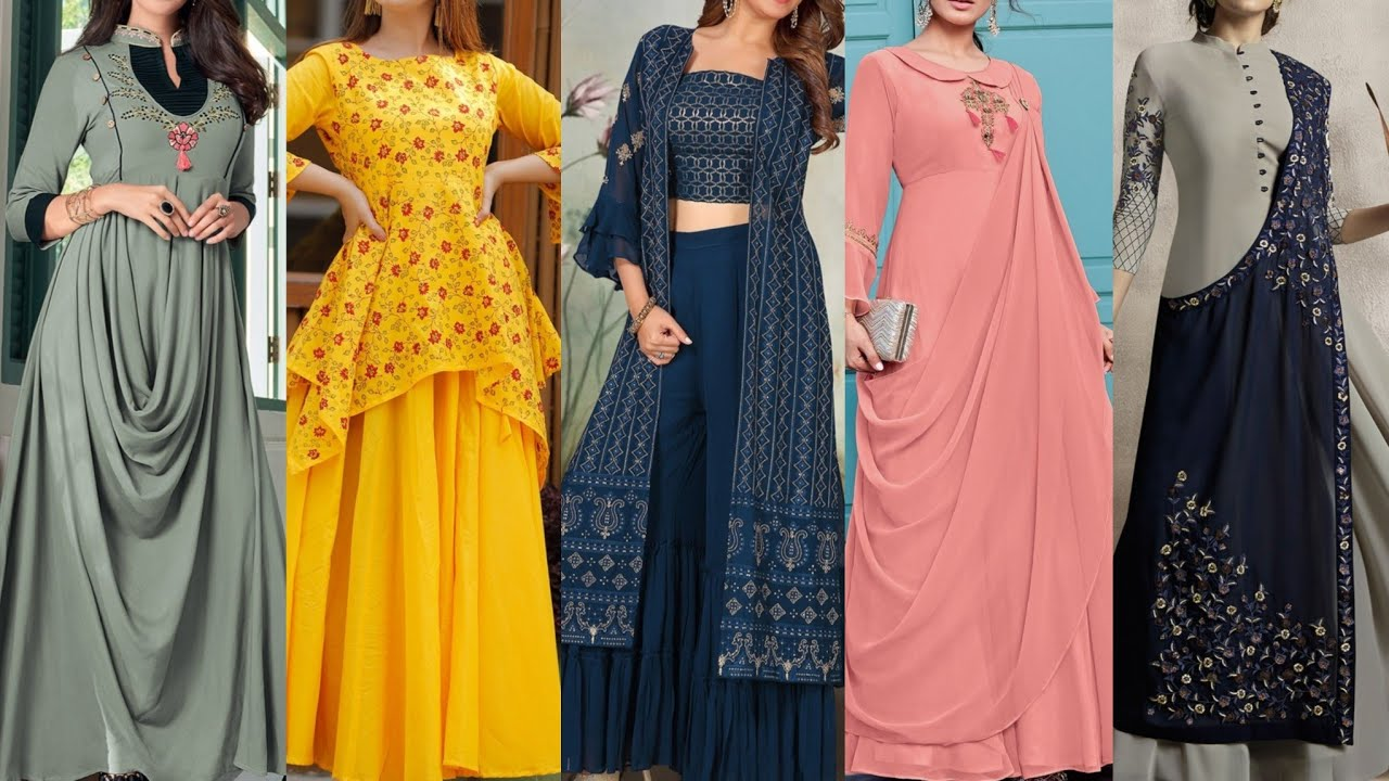 Stylish Party Wear Indo Western Dresses For Girls Unique Gown Designs 2020 New Dresses Designs Youtube