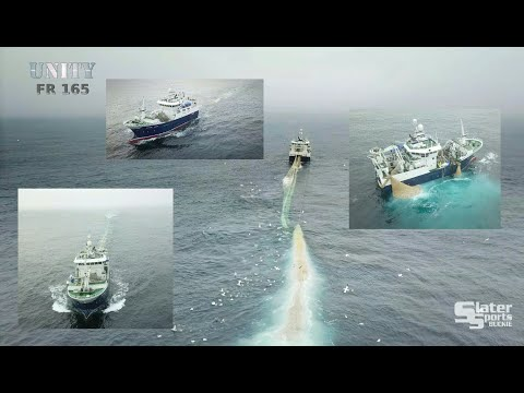 UNITY FR 165 (part 1) Drone & Deck Footage Of Shooting & Hauling Net On A Pelagic Trawler