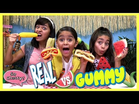 So Chatty - Real vs Gummy Food Challenge - Worst Summer Edition : SO CHATTY // GEM Sisters