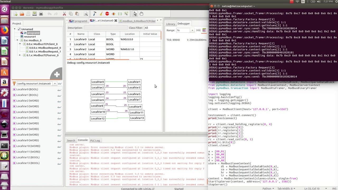 Beremiz Modbus TCP Python writing bit and register