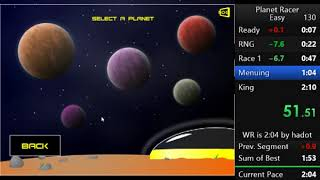 Speedrun: Planet Racer - Easy 2:01.17 WR
