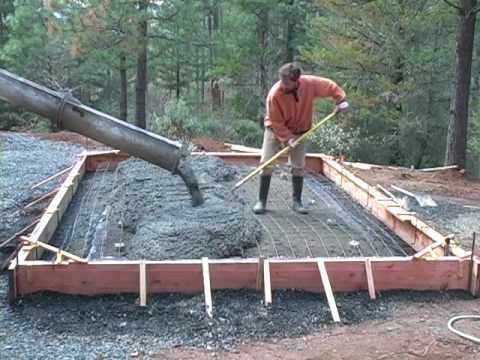 Pouring a concrete slab foundation youtube for Garage slab thickness