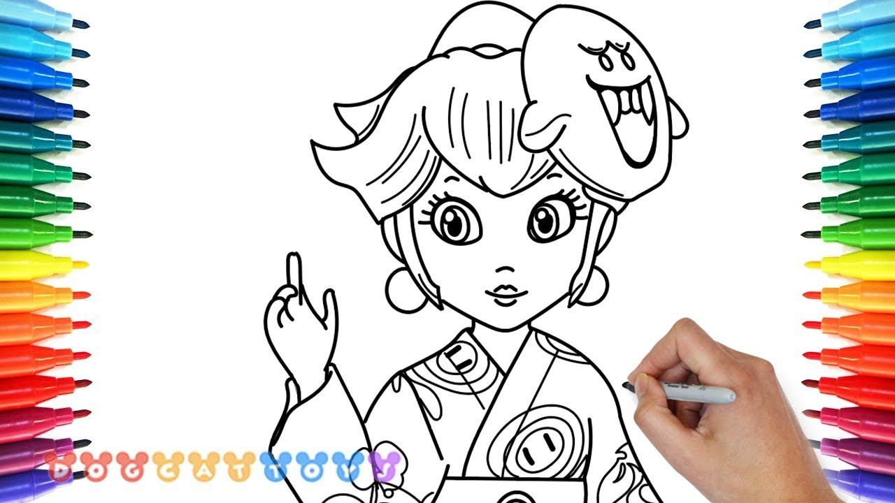 Rosalina Mario Coloring Pages. How to Draw Super Mario Odyssey  Princess Peach with Yukata 18 Drawing Coloring Pages for Kids