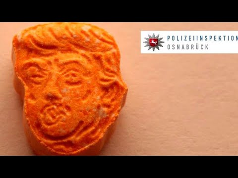 German police confiscate orange-colored ecstasy pills shaped like Trump