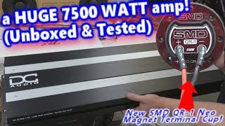 a HUGE 7500 Watt Amp Unboxed & Tested Through SMD QR-1 Quick Release Neo Magnet Terminal Cup