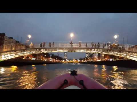 Dublin City Liffey trip under famous O'Connell and Ha'penny bridges