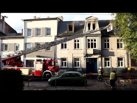 Pożar kamienicy przy ul. Piotra Skargi w Pabianicach