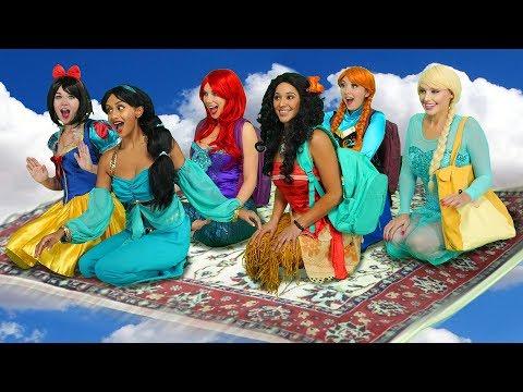 JASMINE'S FLYING CARPET CARPOOL. (With Moana, Ariel, Snow White, Elsa and Anna)
