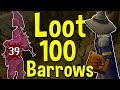 Loot from 100 Barrows Chests Using Fire Wave and the Tome of Fire! [OSRS]
